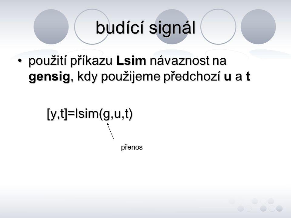 budící signál použití příkazu Lsim návaznost na gensig, kdy použijeme předchozí u a t. [y,t]=lsim(g,u,t)